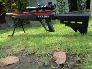 SENAPAN ANGIN BLACK ARMY STRIP MERAH